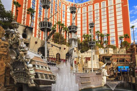 top 7: LAS VEGAS, USA - JULY 7 2015: Treasure island hotel and casino in Las Vegas, Las Vegas is one of the top tourist destinations in the world. About 40 million people visiting the city each year.