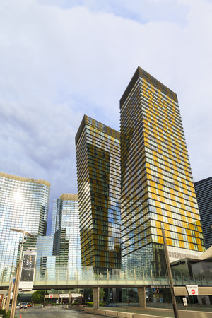 acres: LAS VEGAS, NEVADA - JUL 8, 2015: Aria Hotels at City Center, urban complex on 76 acres (31 ha) located on the Las Vegas Strip with different hotels, casinos and residence.