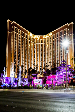 wench: LAS VEGAS - JULY 8 2015:The outdoor live free show The Sirens of Treasure Island in Las Vegas, Nevada. The show presents several times nightly with a large cast of stunt performers.