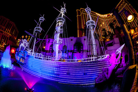 sirens: LAS VEGAS - JULY 8 2015:The outdoor live free show The Sirens of Treasure Island in Las Vegas, Nevada. The show presents several times nightly with a large cast of stunt performers.