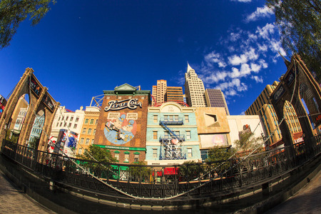 each year: Las Vegas Nevada USA - JUN 9 2015: New York-New York Casino and Hotel architecture facade features many of the New York City icons in Las Vegas, About 40 million people visiting the city each year.
