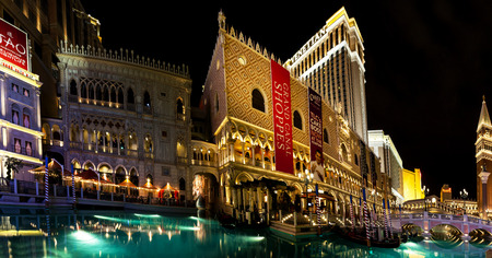 flutter: LAS VEGAS USA JULY 7 2015: The Venetian Resort Hotel & Casino The resort opened on May 3, 1999 with flutter of white doves, sounding trumpets, singing gondoliers and actress Sophia Loren.