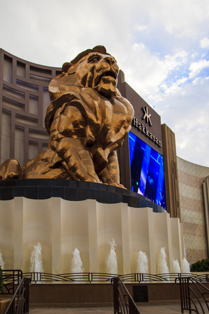 glitzy: LAS VEGAS - JULY 8 2015: MGM Grand Las Vegas as seen. The MGM Grand is the second largest hotel in the world by number of rooms and the largest hotel resort complex in the United States. Editorial