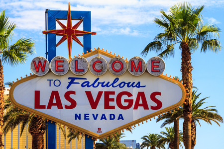 each year: LAS VEGAS, USA - JUL 8 2015: The famous LAS VEGAS sign in Las Vegas, USA. Las Vegas is one of the top tourist destinations in the world. About 40 million people visiting the city each year. Editorial