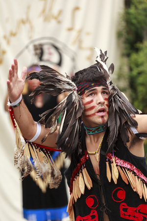 victoria bc: VICTORIA CANADA JUN 18 2016: First Nation (Native) dancers performing at the Victoria Aboriginal Cultural Festival. Spectacular performances at the Royal BC Museum in the heart of downtown Victoria.