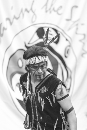 canada aboriginal: VICTORIA CANADA JUN 18 2016: First Nation (Native) dancers performing at the Victoria Aboriginal Cultural Festival. Spectacular performances at the Royal BC Museum in the heart of downtown Victoria.