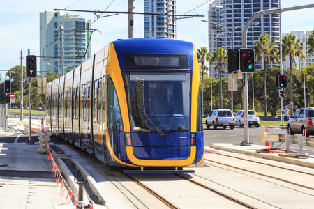 not open: GOLD COAST AUSTRALIA - MARCH 29: Brand new light rail on test run (not yet open for the public), under commissioning at Surfers Paradise on March 29, 2014 Australia