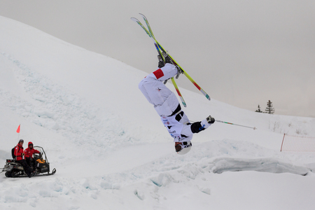 contender: CALGARY CANADA JAN 2 2015. FIS Freestyle Ski World Cup, Winsport, Calgary unidentified contender at the Mogul Free Style World Cup on practice day. Editorial