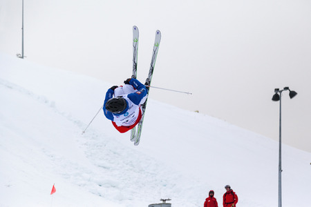CALGARY CANADA JAN 2 2015. FIS Freestyle Ski World Cup, Winsport, Calgary unidentified contender at the Mogul Free Style World Cup on practice day. Editorial