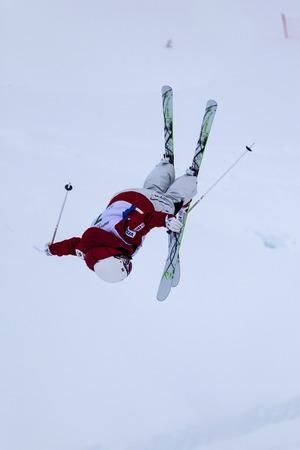CALGARY CANADA JAN 2 2015. FIS Freestyle Ski World Cup, Winsport, Calgary Mr. Ji-hyon Kim from Korea at the Mogul Free Style World Cup on practice day.