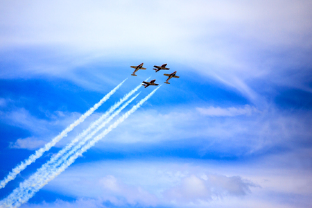 LETHBRIDGE CANADA - JUN 25, 2015: The Snowbirds Demonstration Team demonstrate the skill, professionalism, and teamwork of Canadian Forces personnel during the Wings Over Lethbridge.