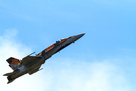 avionics: LETHBRIDGE CANADA - JUN 25, 2015: Royal Canadian Air Force CF-18 Hornet tactical fighter aircraft displaying flight agility at the Wing Over Lethbridge Airshow