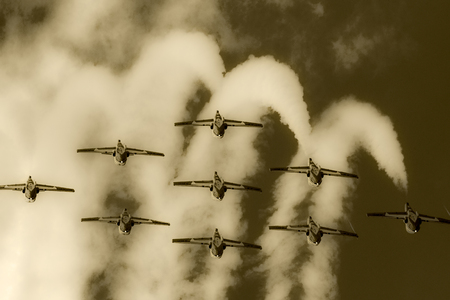aerobatic: SPRINGBANK CANADA 20 JUL 2015: International Air Show and Open House for Canadian, USA and British current and historical military and civilian aircrafts. There were also numerous flights as well.