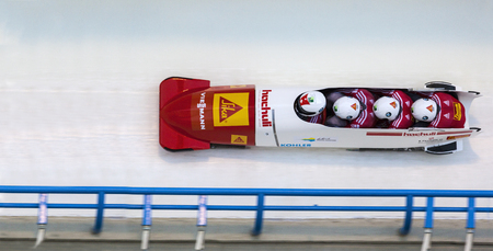 bobsleigh: CALGARY CANADA, DEC 21 2014 : FIBT Viessmann Bobsleigh and Skeleton World Cup in Calgary Olympic Park.
