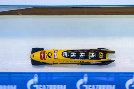 CALGARY CANADA, DEC 21 2014 : FIBT Viessmann Bobsleigh and Skeleton World Cup in Calgary Olympic Park.
