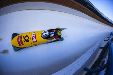 CALGARY CANADA, DEC 21 2014 : FIBT Viessmann Bobsleigh and Skeleton World Cup in Calgary Olympic Park.