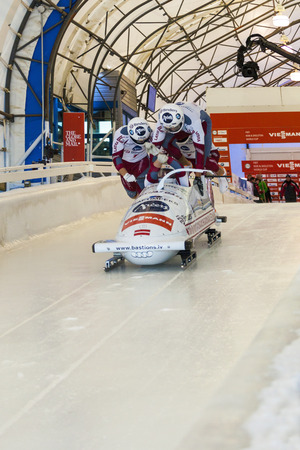 luge: CALGARY CANADA, DEC 21 2014 : FIBT Viessmann Bobsleigh and Skeleton World Cup in Calgary Olympic Park.