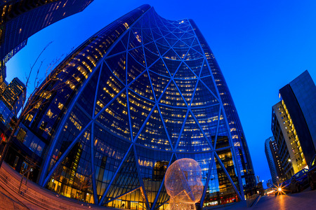 famous industries: CALGARY, CANADA - MAR 5 2016: The Bow Tower in Calgary, Alberta Canada. The Bow is the newest and tallest skyscraper in Canada outside Toronto and home to Encana and Cenovus.