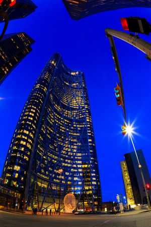 CALGARY, CANADA - MAR 5 2016: The Bow Tower in Calgary, Alberta Canada. The Bow is the newest and tallest skyscraper in Canada outside Toronto and home to Encana and Cenovus.