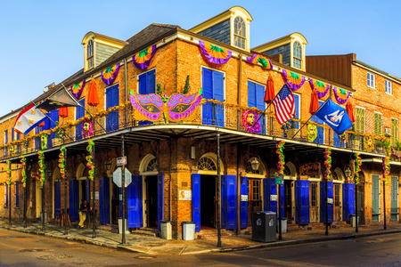 bourbon street: NEW ORLEANS, LOUISIANA USA - JAN 22 2016: Historic building in the French Quarter in New Orleans, USA. Tourism provides a large source of revenue after the 2005 devastation of Hurricane Katrina. Editorial