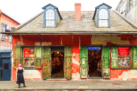 NEW ORLEANS, LOUISIANA USA - JAN 22 2016: Historic building in the French Quarter in New Orleans, USA. Tourism provides a large source of revenue after the 2005 devastation of Hurricane Katrina. Editorial