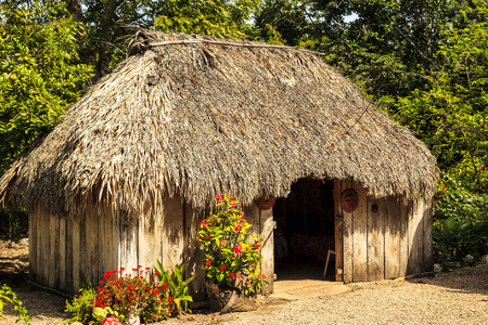 COSTA MAYA MEXICO Jan 29 2016: Mayan home in the Yucatan The traditional and still functional Mayan home estate. The Mayans are welcoming echo tourist in their estate. Editorial