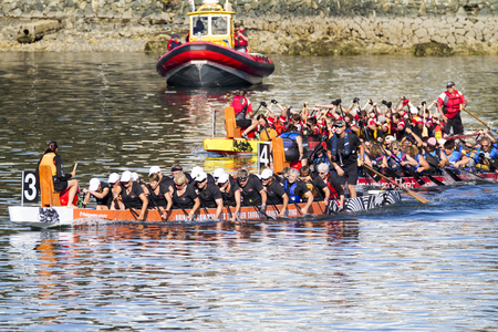 dragonboat: VICTORIA CANADA - AUG 14 2016: The annual  Victoria Dragon Boat Festival. Victoria's most spectacular summer festivals and the only dragon boat festival in Canada to take place in a working harbor.