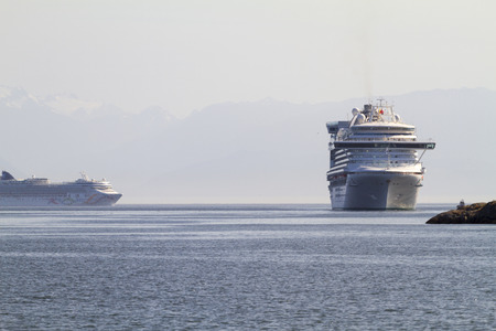 each year: VICTORIA, BC, CANADA - JULY 21 2016. Cruise ship in Victoria. Each year hundreds of cruise ships docks in for a day or two. Victorias charm and beauty has a lot to offer for any world traveler.