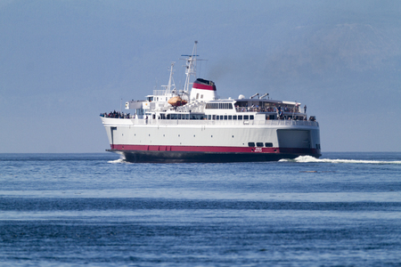 VICTORIA, BC, CANADA - JULY 26 2016: Travel between Seattle and Victoria, BC is fast and convenient aboard passenger ferry Coho. Victoria is one of the tourist destination Editorial