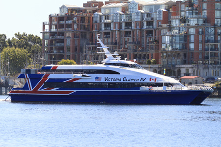 victoria bc: VICTORIA, BC, CANADA - MAY 7 2016: Travel between Seattle and Victoria, BC is fast and convenient aboard a high-speed Victoria Clipper passenger ferry. Victoria is one of the tourist destination