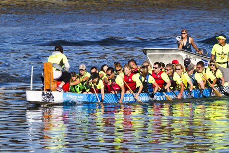 14: VICTORIA CANADA - AUG 14 2016: The annual Victoria Dragon Boat Festival. Victorias most spectacular summer festivals and the only dragon boat festival in Canada to take place in a working harbour. Editorial