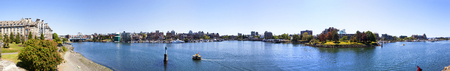 victoria bc: VICTORIA, BC, CANADA - MAY 7 2016: Panoramic view of the Inner Harbor Downtown City Skyline . Editorial
