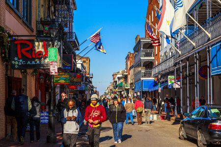 decoratiion: NEW ORLEANS, LOUISIANA USA - JAN 22 2016: Historic building in the French Quarter in New Orleans, USA. Tourism provides a large source of revenue after the 2005 devastation of Hurricane Katrina. Editorial