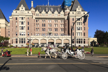 hurried: VICTORIA, BC CANADA - JULY 28 2016 - Victoria is a city, charm and new world experiences. As an island destination, Victoria offers visitors an escape from the hurried world and beams with ambiance.