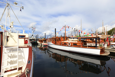 victoria bc: VICTORIA CANADA -SEPT 4 2016: Annual Victoria Classic Boat Festival attract many owners and visitors from Canada, USA. There are many crafts on display and sailing on the last day tops the event..