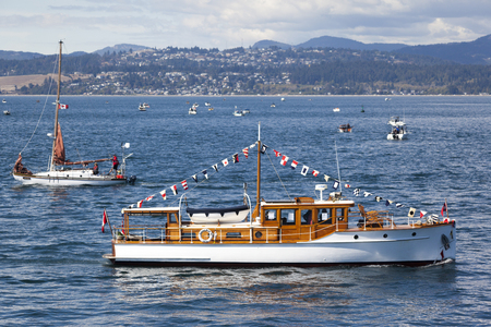 exhibitor: VICTORIA CANADA -SEPT 4 2016: Annual Victoria Classic Boat Festival attract many owners and visitors from Canada, USA. There are many crafts on display and sailing on the last day tops the event..