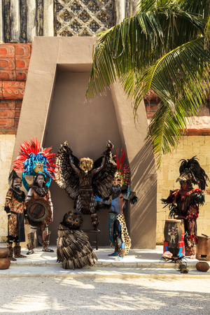 COSTA MAYA MEXICO JAN 30 2016:Pre-Hispanic Mayan performance called