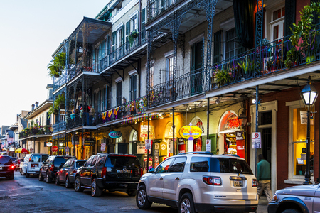 drunkenness: NEW ORLEANS, LOUISIANA USA- JAN 23 2016: Pubs and Bars having colorful lights and decorations in the French Quarter. Tourism provides a much needed financial source, also home for great musicians. Editorial