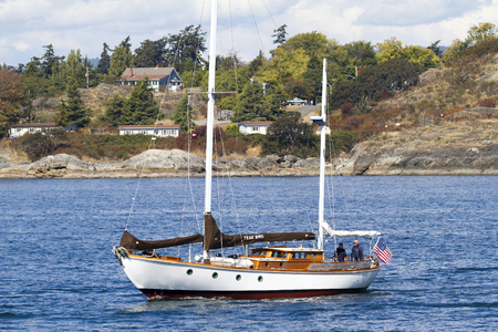 VICTORIA CANADA -SEPT 4 2016: Annual Victoria Classic Boat Festival attract many owners and visitors from Canada, USA. There are many crafts on display and sailing on the last day tops the event..