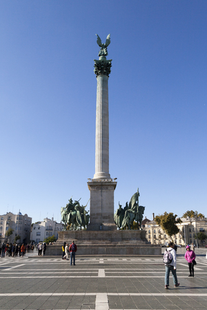 Millennium Monument in Heroes Square in Budapest, Hungary. This square has been UNESCO World Heritage site since 2002.