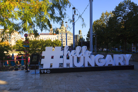 BUDAPEST HUNGARY SEPT 26 2016: Deak Ferenc Square, The Aquarium draw innumerable young people here every night  and tan the square always buzzing and full of good vibes. Editorial