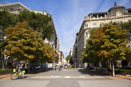 BUDAPEST HUNGARY SEPT 27 2016: The newly renovated inner city in Budapest is a big attraction for tourists all over the world. Budapests beauty shown through many centuries of architecture. Editorial