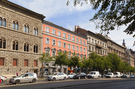 BUDAPEST HUNGARY SEPT 27 2016: The newly renovated inner city in Budapest is a big attraction for tourists all over the world. Budapest's beauty shown through many centuries of architecture.