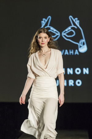 swear: Victoria Canada - February 25 2017: Models are on the runway at the premier of the Victoria Fashion Week ..on the Runway.. fashion show. Fantastic designs and great models are on the program.