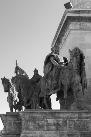 BUDAPEST, HUNGARY - SEPT 24, 2016: Millennium Monument on the Heroes Square (Hosok Tere) is one of the major squares and frequently visited placd in Budapest, Hungary. Editorial