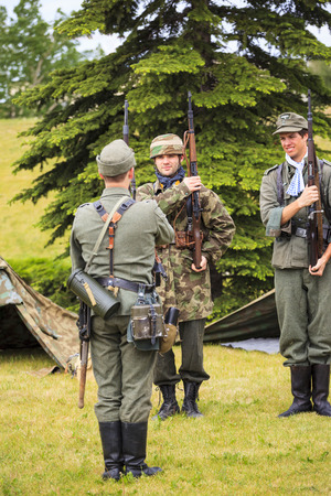 The Military Museum organized Summer Skirmish event where an unidentified soldier is seen in a historical Reenactment Battle. Seen from WW II