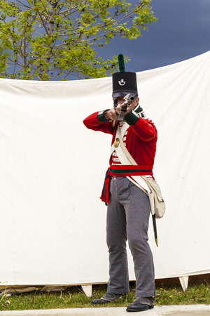 CALGARY CANADA JUN 13 2015:  The Military Museum organized Summer Skirmish event where an unidentified soldier is seen  in a historical Reenactment Battle.
