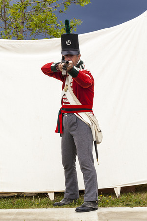 reenactment: Military Museum organized Summer Skirmish event where an unidentified soldier is seen in a historical Reenactment Battle.