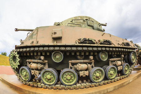 Exhibits outside the Military Museums in Calgary, Alberta Canada. It is made of museums dedicated to representing Canadas navy, army, and air force. Sherman tank on display