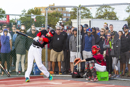 Victoria BC Canada Aug 23 17: Unidentified players on the Home Run Derby at Ogden Point Kicks Off Baseball Canada Senior Men's Nationals. A  public event for all ages where fans and players had fun. Editorial